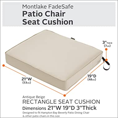 Classic Accessories Montlake Water-Resistant 21 x 19 x 3 Inch Rectangle Outdoor Seat Cushion, Patio Furniture Chair Cushion,