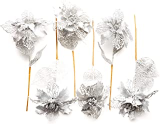 """CraftMore Silver Glitter Flower Pick 12"""" Set of 6"""