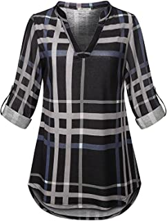 SeSe Code Womens 3/4 Roll Sleeve Shirt Notch Neck Loose Tops Plaid Tunic Blouse