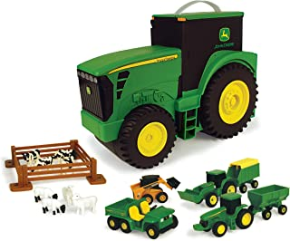 TOMY John Deere Durable Vehicle Toy Set for Kids with Tractor Shaped Portable Carry Case