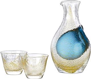 東洋佐々木ガラス 冷酒グラス セット 金箔 日本製 カラフェ 300ml、グラス80ml 3点入り G640-M60
