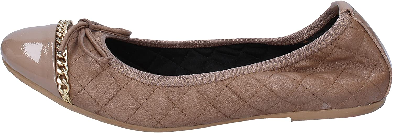 CROWN Flats-shoes Womens Leather Beige