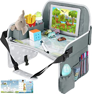 Kids Travel Tray, Toddler Car Seat Tray with Dry Erase Board, Collapsible Lap Car Seat Travel Table Desk w/iPad Holder, St...