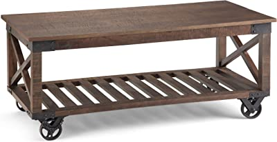 Simpli Home Harding SOLID MANGO WOOD and Metal 44 inch Wide Square Modern Industrial Coffee Table in Distressed Dark Brown with Storage, 1 Shelf, for the Living Room, Family Room