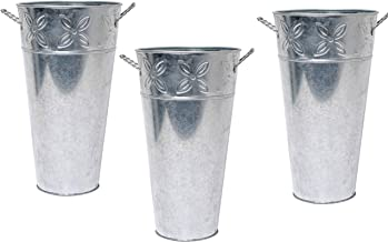 small silver buckets for flowers