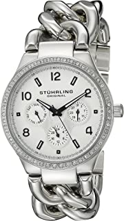 Stuhrling Original Women's 813S.01 Vogue Renoir Quartz Day and Date Swarovski Crystal-Accented Stainless Steel Chain-Link Bracelet Watch