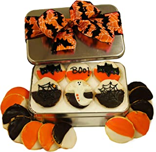 Halloween Cookie Gift Basket Tin Filled with 18 Decorated Cookies Gourmet Great Spooky Trick or Treat Gift Idea for Boys Girls Kids Adults Men Women PRIME DELIVERY