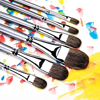 6pcs Professional Oil Paint Filbert Brushes, Natural Badger & Synthetic Blend, Acrylic Paint Brushes Long Handles, Artist's Choice Collection