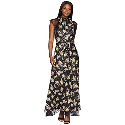 Tahari by ASL Floral High Neck with Lace Sleeve A-Line Gown (Black/Lemon/Blush) Women