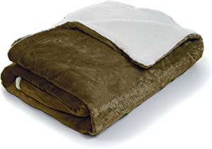 Bedford Home Fleece Blanket with Sherpa Backing, Full/Queen, Brown