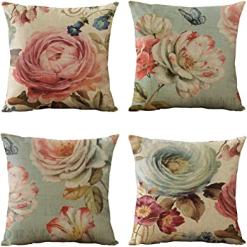 WOMHOPE Set of 4 Vintage Spring Flower Decorative Throw Pillow Covers Pillow Cases Cushion Cases Burlap Toss Throw Pillow Covers 18 x 18 Inch for Living Room,Couch and Bed (Pink Flower)