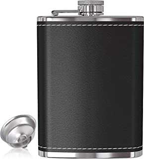 Flask for Liquor and Funnel - 8 Oz Leak Proof 18/8 Stainless Steel Pocket Hip Flask with Black Leather Cover for Discrete Shot Drinking of Alcohol, Whiskey, Rum and Vodka | Gift for Men