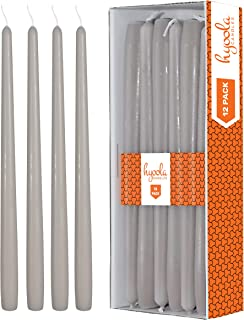 Hyoola 12 Pack Tall Taper Candles - 14 Inch Taupe Dripless, Unscented Dinner Candle - Paraffin Wax with Cotton Wicks - 12 Hour Burn Time
