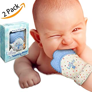 LuliJoy Teething Mitten Set of 2 – Baby Glove Teether Toys for Boys & Girls – Adjustable Strap Stays on Infant Hands – FDA-Approved Silicone Teether for Natural Baby Pain Relief, Sensory Stimulation