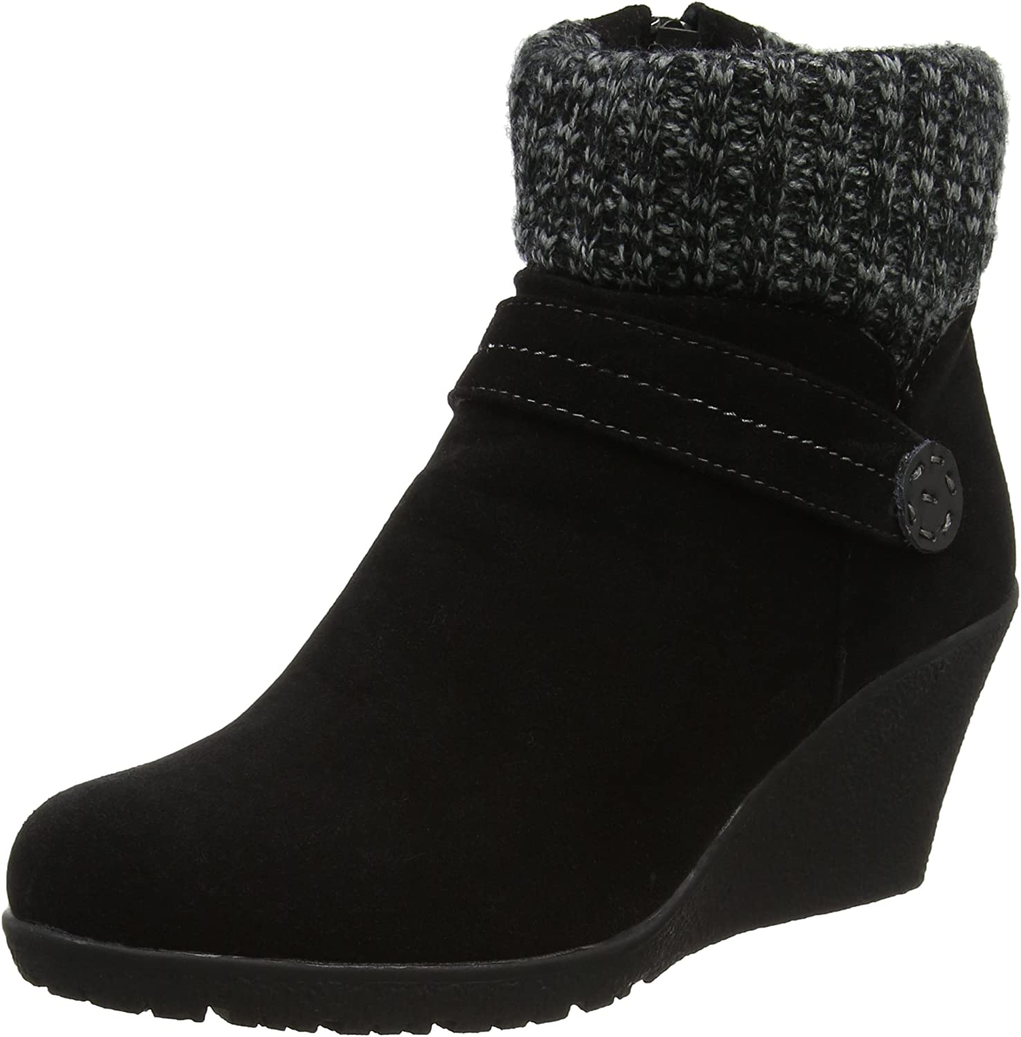 Joe Browns Womens Wedged Ankle Boot with Knitted Collar Black
