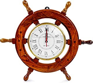 """16"""" Hand Crafted Wooden Ship Wheel with 6"""" Wall Decor Premium Vintage Roman Dial Time's Clock 