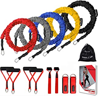 Coolrunner Resistance Bands Set, 13 PCS Workout Bands, 20lbs to 40lbs Resistance Tubes with Nylon Sleeve, Men Elastic Exer...