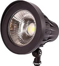 GKOLED 44° Beam Angle 30Watt Bullet/Round LED Spotlight, 120-277V, 5000K Daylight White, 3350 Lumens, Outdoor Landscape Flag Pole Light Fixture, UL Listed & DLC Qualified, Aluminum, Dark Bronze