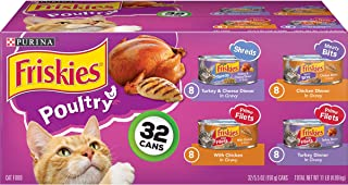 Purina Friskies Canned Wet Cat Food 32 Count Variety Packs – (32) 5.5 oz Cans