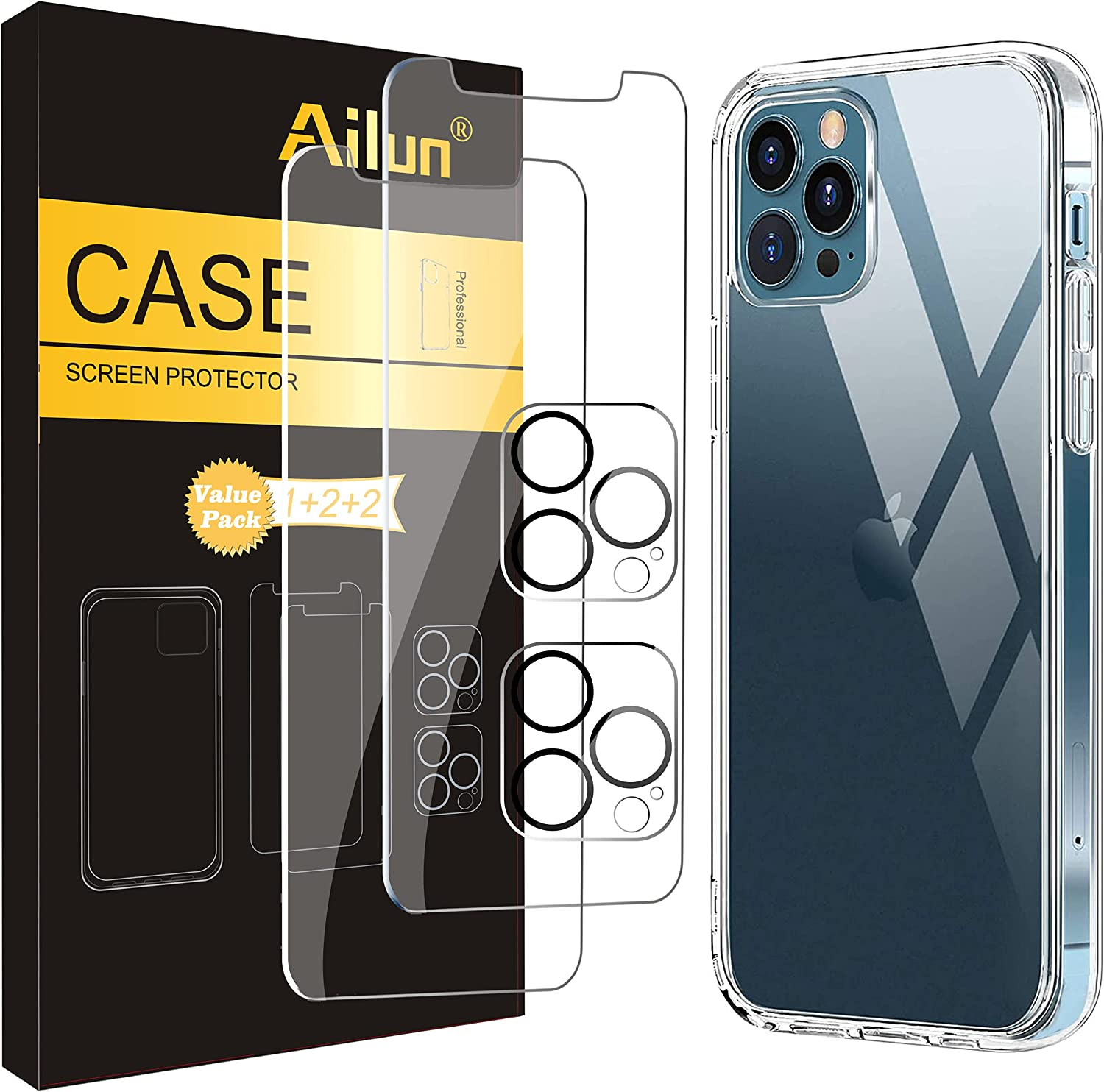 Ailun Case Compatible for iPhone 12 Pro Max[6.7 inch] with [2 x Glass Screen Protector + 2 Pack Camera Lens Protector] Shock Absorption Bumper TPU Clear Cover, Anti Scratch/Fingerprint/Oil Stain Back Cover Crystal Clear