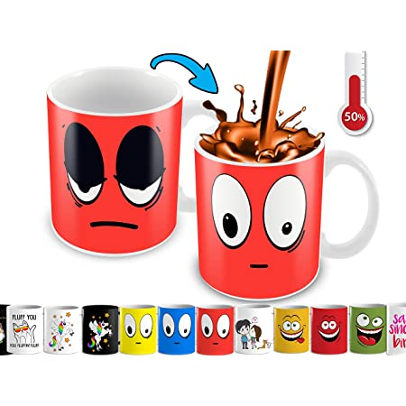 Cortunex Funny Coffee Mug - Anime Color Changing Mug With Funny Smiley Face   Cute Mug For Woman, Men Kids   11 Oz Ceramic Novelty Coffee Mug With Color Box - Red