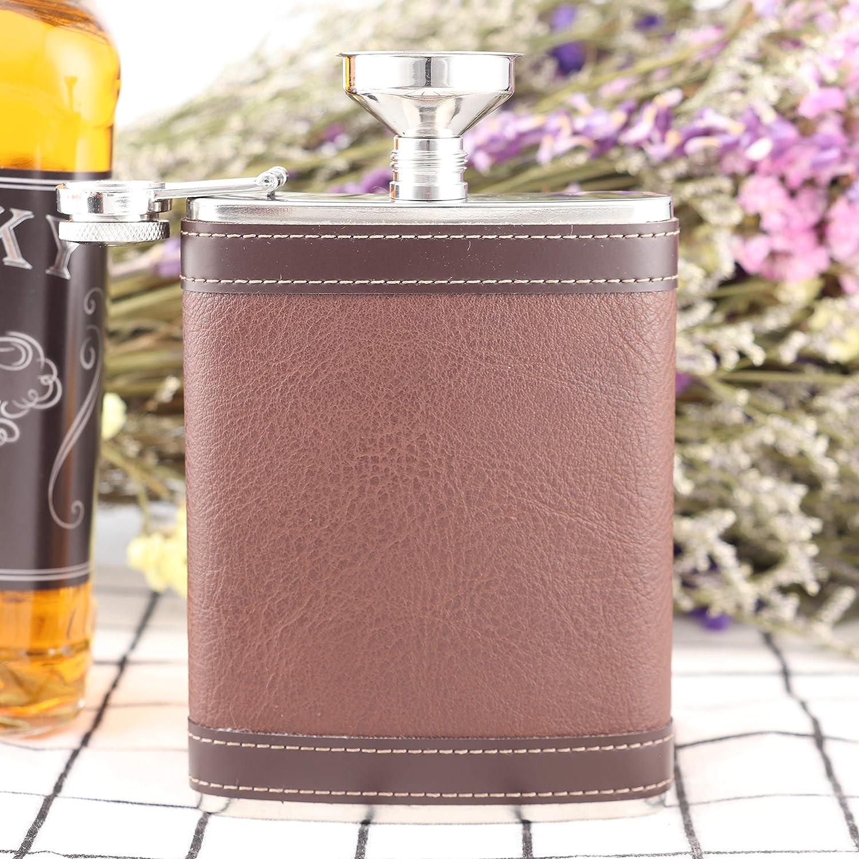 Heesung Petaca de acero inoxidable envuelta en cuero marr/ón 8 onzas petaca de metal vintage adjunta a rosca petaca de whisky y petaca de licor