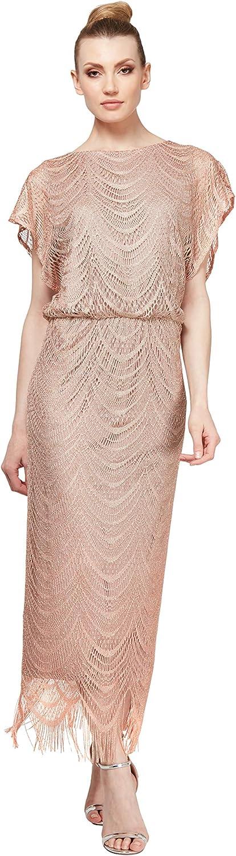 S.L. Fashions Women's Metallic Crochet Dress (Plus Size and Missy)