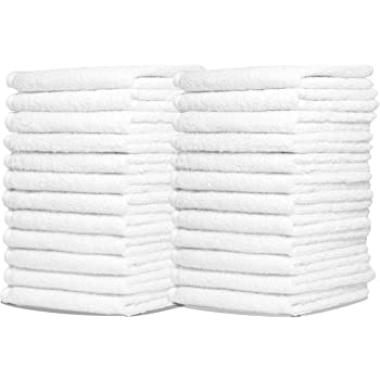 Zeppoli 24-Pack Washcloths | 100% Natural Cotton, 12 x 12 Inches, Commercial Grade Washcloth, Machine Washable Cleaning Rags and Wash Cloths for Bathroom
