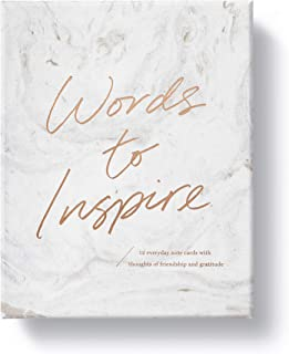 Words to Inspire Boxed Note Cards by Compendium — 12 gold foiled cards with printed envelopes