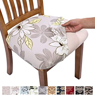 Comqualife Stretch Printed Dining Chair Seat Covers, Removable Washable Anti-Dust..