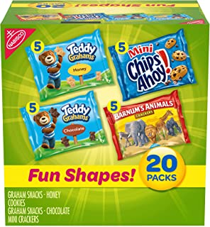 Nabisco Fun Shapes Cookie & Cracker Mix, Variety Pack with Teddy Grahams, Chips Ahoy Cookies & Barnum's Animal Crackers, 20 Count Individual Snack Bags