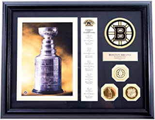 AUTHENTIC APPAREL NHL - Boston Bruins Lord Stanley Championship Cup Hockey Collectible Plaque with 24kt Gold Plated Coins