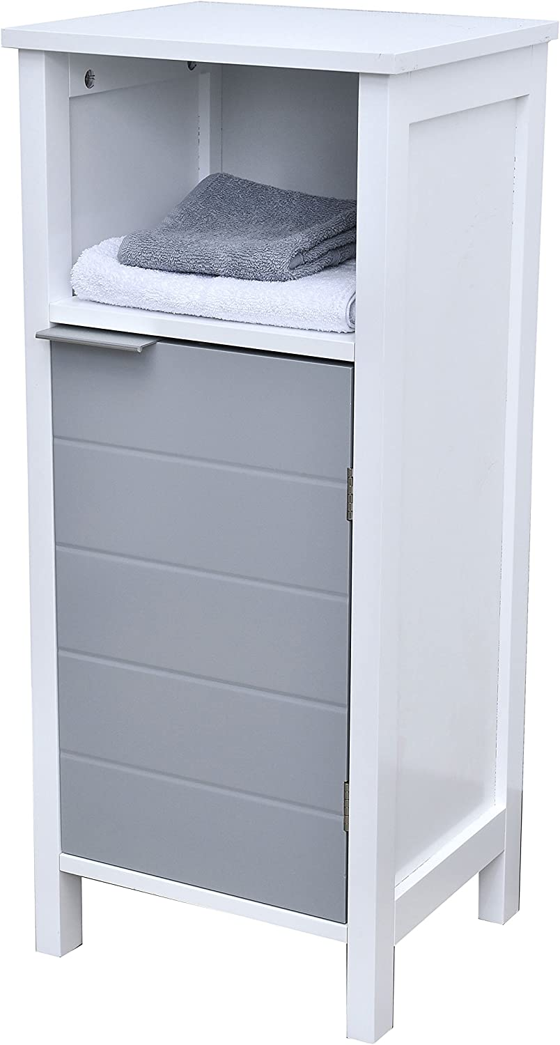 EVIDECO 9902208 Freestanding Bathroom Floor Storage Cabinet 1 Door with Shelves-Modern D-White and Grey