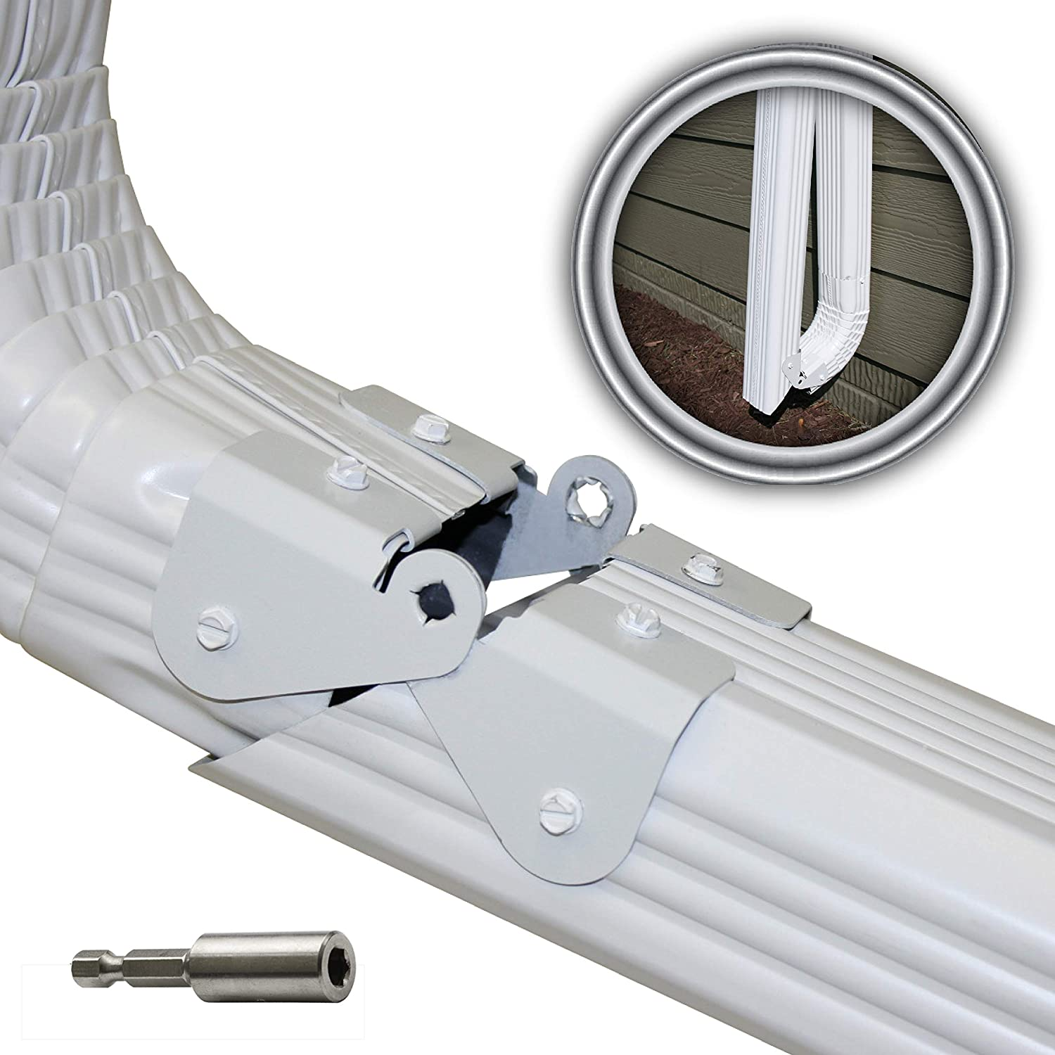 Zip Hinge 5 Pack Plus | 1-6 Packs of Gutter Extension Hinges | Also Includes Clasp, Screws, Magnetic Nutsetter & Instructions | Easy DIY Installation on Any Size Rectangle or Square Downspout