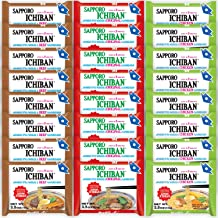 Sapporo Ichiban Variety Flavors Mix Packs Instant Ramen, Original, Beef, Chicken Flavors Noodle Soup (Pack of 24)