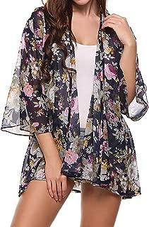 Cardigan Donna Lunga Vintage Fashion Manica Lunga Stampa Fiore Kimono Estivi Casual Sciolto Eleganti Leggero Sottile Vacanza Mare Cappotto Outwear