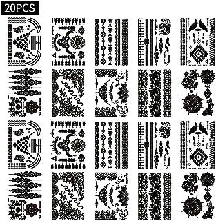 20 Blätter Schwarz Temporäre Tätowierung Aufkleber Kleine