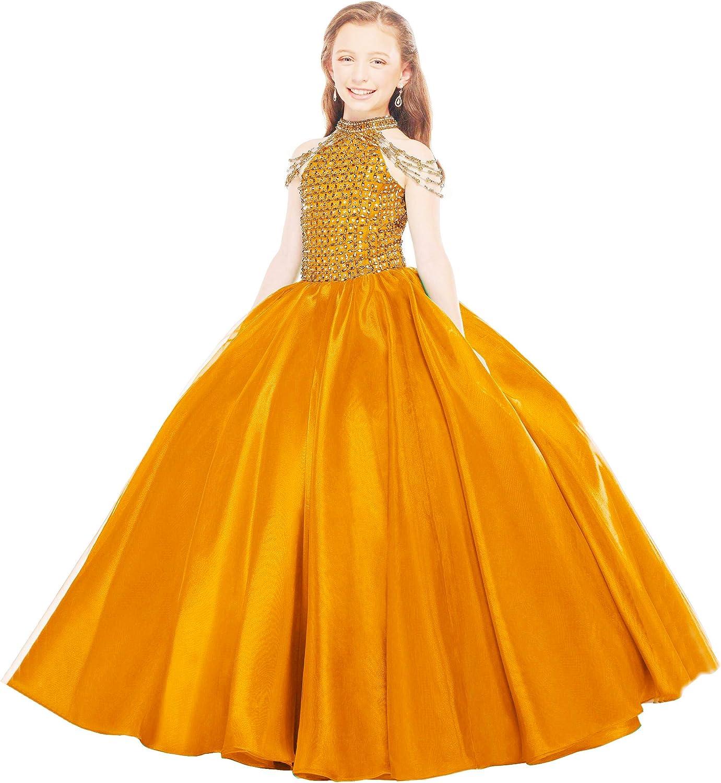 Honeydress Girl's High Neck Beading Gilrs Pageant Dresses Open Back Princess Flower Girls Dress
