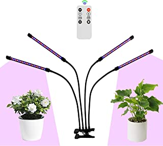 LED Grow Light for Indoor Plants, AINEEDY 40W 80 LED Growing Lamp with Remote 3/9/12H Timer 9 Dimmable Levels 3 Switch Red/Blue Modes, Adjustable Gooseneck,USB or AC Powered