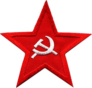 Soviet red star badge military insignia USSR hammer & sickle embroidered applique iron-on patch new