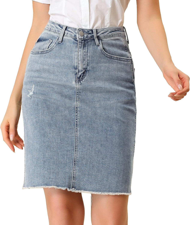 Allegra K Women's Basic Distressed High Waist Ripped Hem Washed Jeans Denim Skirt