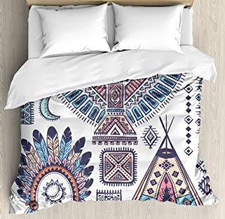 Ambesonne Tribal Duvet Cover Set Queen Size, Ethnic Teepee Tents Eagle Symbol Moon Sun and Feather Chief Hat Print, Decorative 3 Piece Bedding Set with 2 Pillow Shams, Coral Blue and Peach