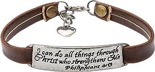 Leather Bracelet for Women Teens Christian Engraved OrnamentJewelry Gift Inspirational..