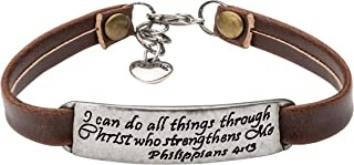 Inspirational Christian Bracelet Leather Jewelry Gifts for Her Birthday Bible Verse Jewellery …