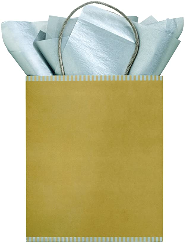 The Gift Wrap Company Pack of 12 Kraft Paper Gift Bag Totes, Midas Touch Gold