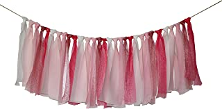 Rustic Lace Tassel Garland Fabric Garland Rag Tie Garland Shabby Chic Blush Banner For Vintage Wedding Backdrop Wedding Decor Baby Shower Party Decor Home Decor Wall Hanging Boho Decor 4Ft