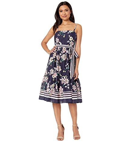 Vince Camuto Printed Cold Shoulder Maxi Dress with Ruffled Skirt (Navy) Women