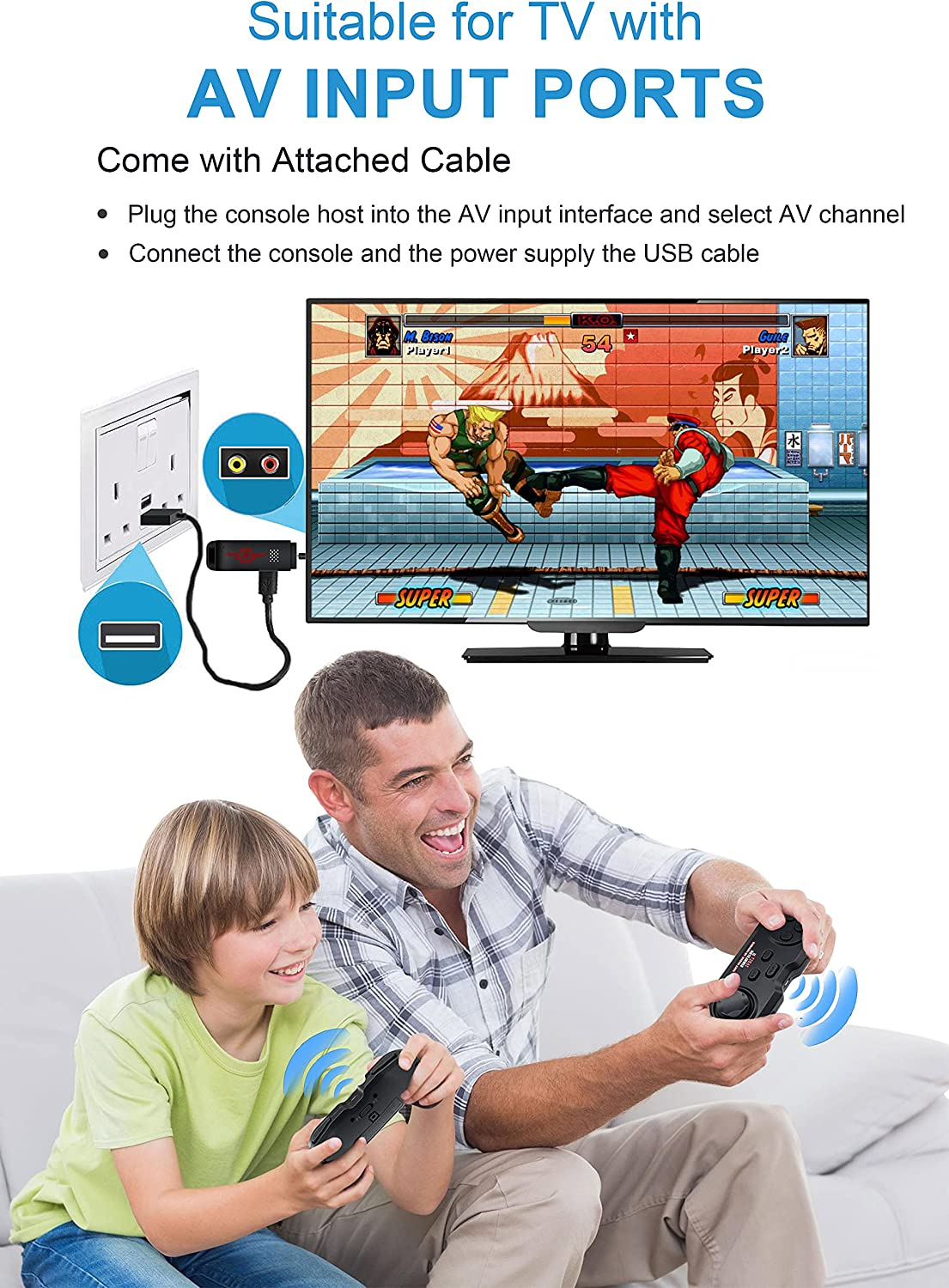 Retro Game Console, Video Game Console, Wireless Preloaded AV Output Game Console, Built In 2000 Retro Video Games, 8/16/32 Bit Retro Game, Wireless Emulator Console, Great Gift For Adult And Kid: Toys & Games