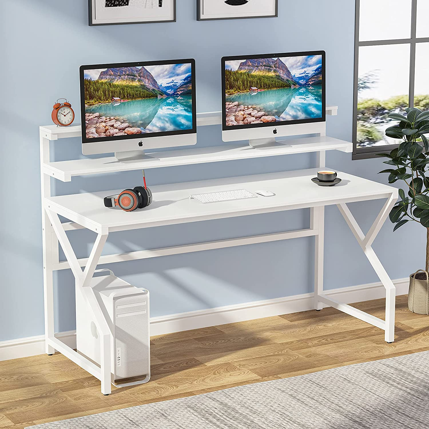 Tribesigns Computer Desk with Monitor Stand Inch Moder 1 year warranty Large Animer and price revision 55