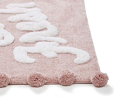 "VCNY Home   Fresh Collection   Bath Rug-Ultra Plush Pom Pile-Optimal Absorbency for Bathroom Use, 24"" x 60"", Blush"